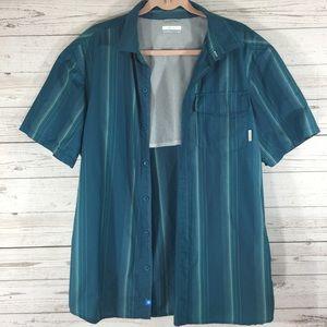 Columbia Mens Vented Shirt L teal/gray stripe